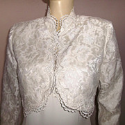 1980s Vintage Scott McClintock Ivory Lace Wedding Dress with Bolero Jacket With Tags Size Medi