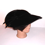 1950s Vintage Black Velvet Hat with Ribbons