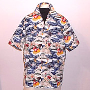 1980s Vintage Hilo Hattie Men's Aloha Hawaiian Shirt Surfer & Guitar Print Size Large