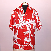 1980s Vintage Hilo Hattie's Men's Aloha Hawaiian Shirt Red & White Size Medium/Large