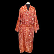 1960s Vintage Caulfeild Men's Dressing Robe Orange Paisley Size Large