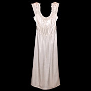 1940s Vintage Bias Cut Ladies White Nightgown Size Medium