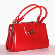 SOLD 1960s Vintage Red Footed Handbag