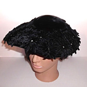 1950s Vintage Black Velvet Hat with Rhinestones