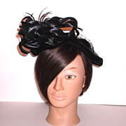 1940s Vintage Day-Jonn Black Velvet Tilt Hat with Feathers