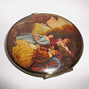 Vintage Mirror Compact with Romantic Era Scene