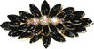 1950s Large Black Glass & AB Rhinestone Tiered Pin