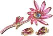 1950s Vintage Fuchsia Pink Unfoiled Navettes Large Flower Pin & Earrings Demi