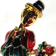 Signed Eisenberg Ice Vintage Jewelry Pin Enameled Clown