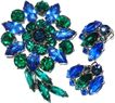 1960s Vintage Cobalt Blue & Green Glass Large Pin & Earrings Demi