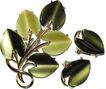 1960s Vintage Signed Coro Vintage Jewelry Shades of Green Thermoplastic Pin & Earrings Demi