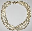 1980s Vintage Signed Anne Klein Simulated Pearl Triple Strand Necklace