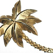 Signed Crown Trifari Vintage Jewelry Pin Palm Tree Book Piece