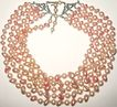1960s Vintage Pale Pinks Baroque Simulated Pearls Five Strand Necklace