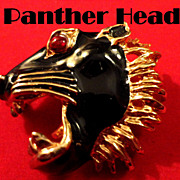 SALE VINTAGE Fierce Panther Head Black enamel pin brooch on gold tone