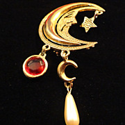 REDUCED VINTAGE 50s Man in the moon gold tone pin with pearl and ruby rhinestone dangles