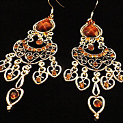 REDUCED VINTAGE  Beautiful  Chandelier earrings in filigree silver tone with amber lucite ston