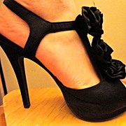 SALE VINTAGE Black Satin Platform Peep Toe Sandals Strappy Floral Rosette Ruffle High Heel ...