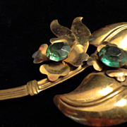 "SALE VINTAGE Large 40s Deco Gold tone bouquet 4""  pin brooch with emerald rhinestones"