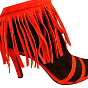 SALE VINTAGE Shellys Red Suede Fringe Leather Open-Toe Pump Sandle Shoes High Heels