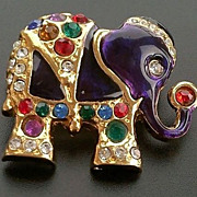 SALE VINTAGE Adorable Gold tone Elephant pin brooch with rhinestones and purple enamel