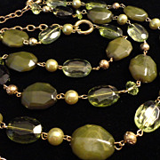 SALE VINTAGE two strand lucite necklace with faceted moss and translucent chartreuse on gold t
