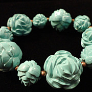 SALE VINTAGE MOLDED Aqua Cabbage rose lucite stretch bracelet