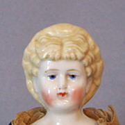 12� Blond China Lady ~ Unusual Hairdo with Red Bow