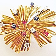 Multi-Stone Fire Works Pin in 18k Yellow Gold ~ circa 1930's