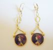 Hand Painted Drop Earrings in 14k Yellow Gold ~ circa 1940's