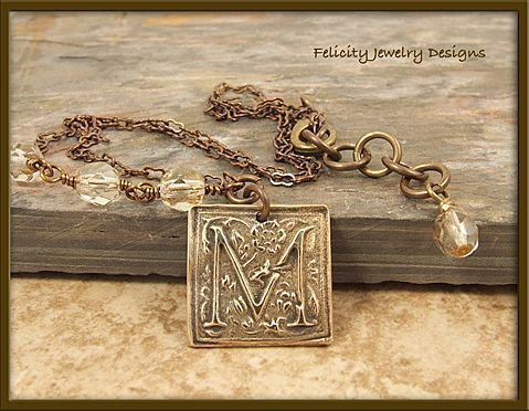 """Monograms"" - Bronze Letter (initial) Pendant and Antiqued Brass Necklace"