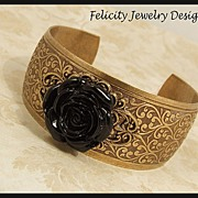 """Amelia"" - Lucite Flower and Antiqued Brass Cuff Bracelet"