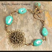 """Amelia"" - Lucite Flower, Antiqued Brass and Turquoise Jasper Bracelet"