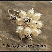 Sterling Silver, Freshwater Pearl and Bali Silver RIng - MADE TO ORDER