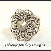 """Toria"" - Filigree and Antiqued Silver Ring"