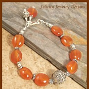 SOLD Bali Silver and Carnelian Bracelet - Red Tag Sale Item