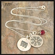 FIne and Sterling Silver Initial Charm  Necklace - MADE TO ORDER
