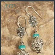 Bali Sterling Silver and Howlite Earrings