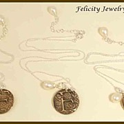 "LOT of 3 -""Monograms"" Bronze and Sterling Silver Necklace - MADE TO ORDER"