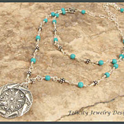 Fine Silver, Magnesite and Sterling Silver Double Strand Necklace