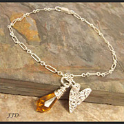 Fine Silver, Sterling Silver and Crystal Anklet (Ankle Bracelet)