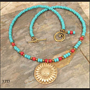 """Eden"" Bronze, Coral and Czech Glass Bead Necklace"
