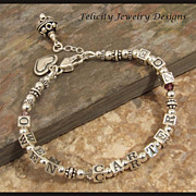 SOLD Sterling Silver and Birthstone Name Bracelet