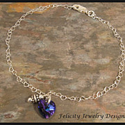 SOLD Swarovski Crystal and Sterling Silver Heart Anklet (Ankle Bracelet)