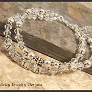 Sterling Silver  Name Bracelet with Swarovski Crystals