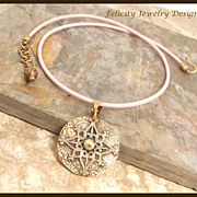 """Essence""  Bronze and Leather Necklace"