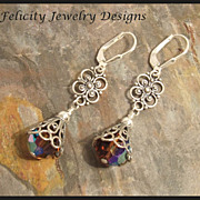 Swarovski Crystal and Bali Sterling Silver Earrings