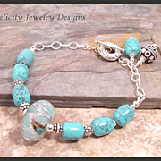 SOLD Lampwork Glass Bead and Sterling Silver Bracelet