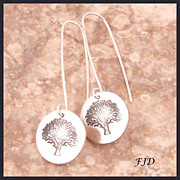 """Tree of Life"" Fine Silver and Sterling Silver Earrings"