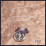 """Fleur de Lis"" - Fine Silver and Iolite Necklace"